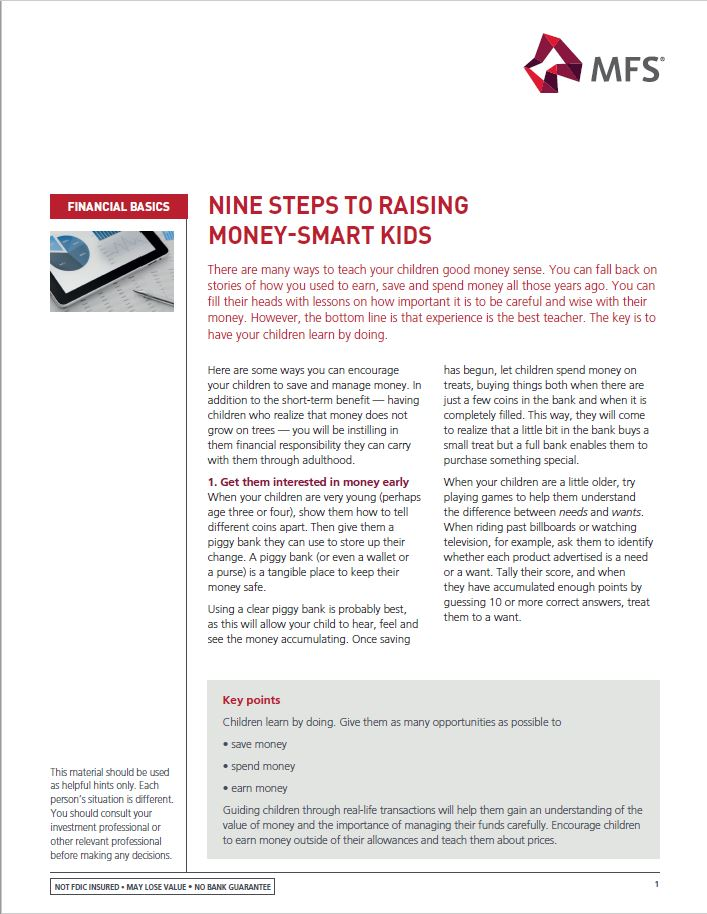 Nine Steps to Raising Money-Smart Kids