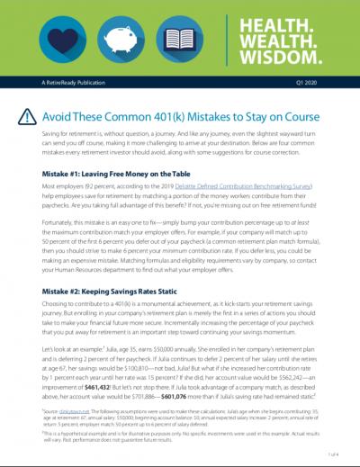 First Quarter 2020   Health Wealth Wisdom