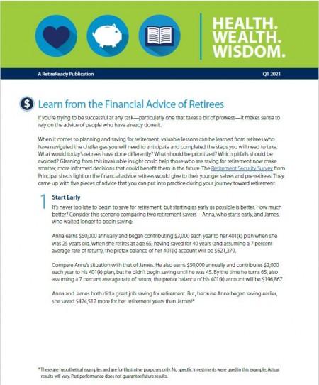First Quarter 2021 | Health Wealth Wisdom